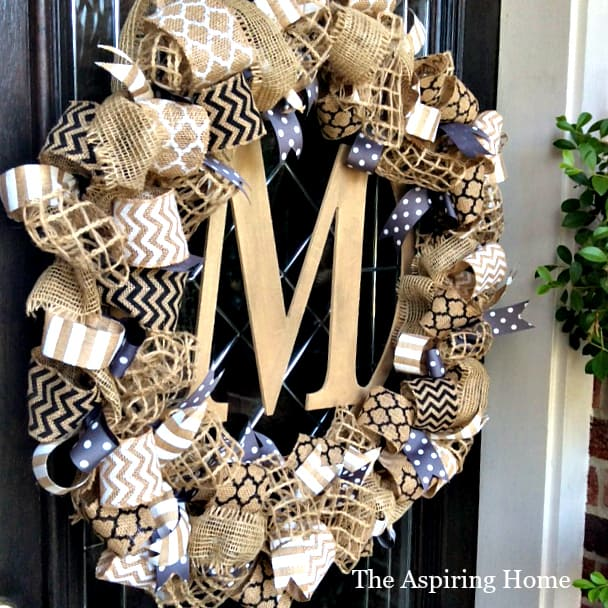 Style 3 wreath with monogram letter added