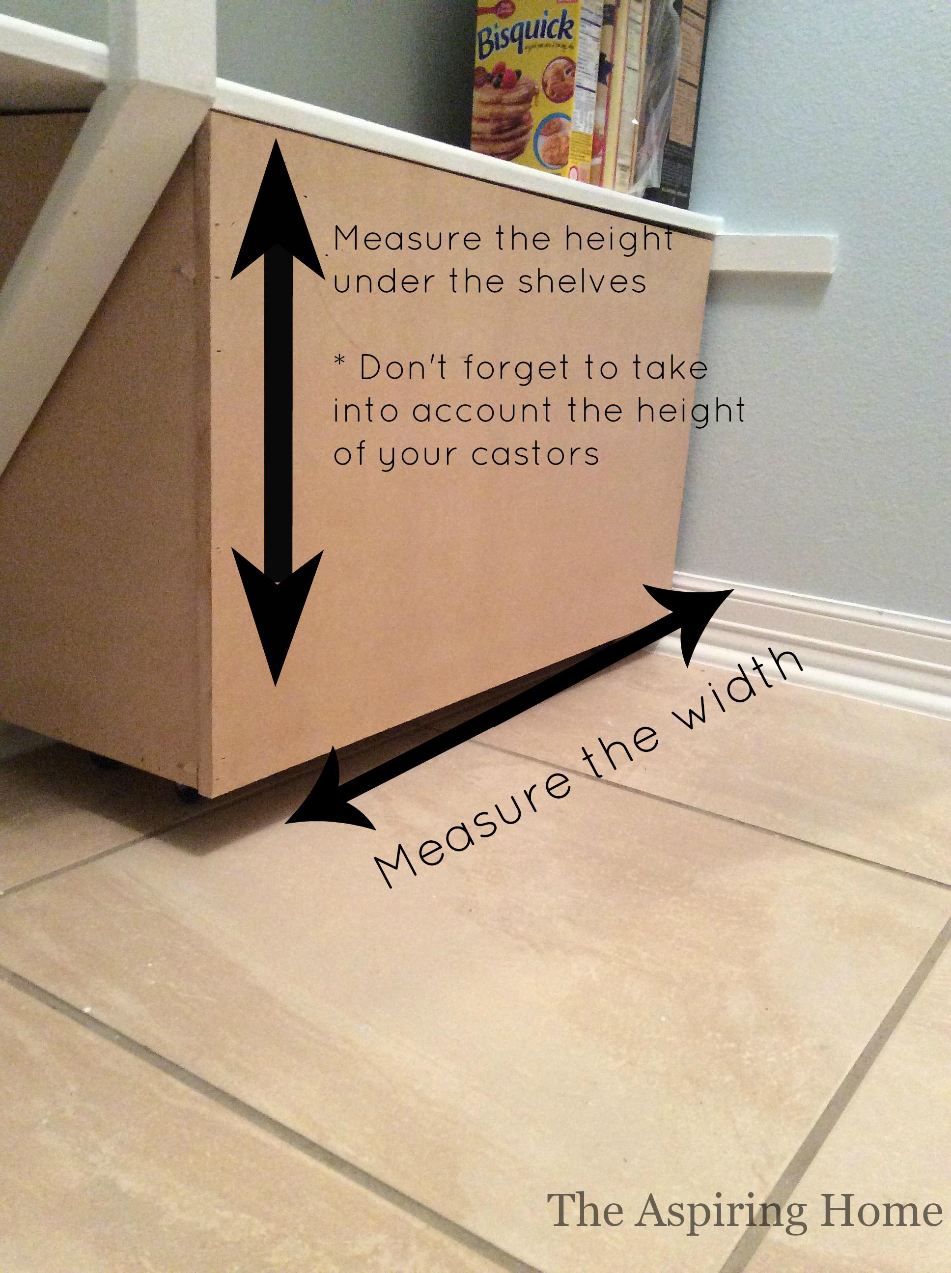 measuring for under shelf storage bins