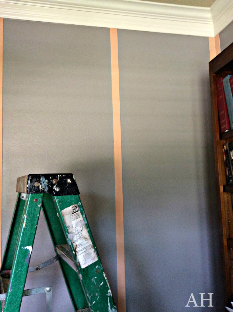 wood strips install for Riveted wall treatment The Aspiring Home