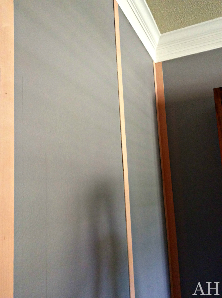 Attach wood strips to wall Riveted wall treatment The Aspiring Home