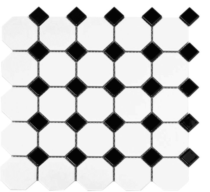 retro tile pattern for powder room design