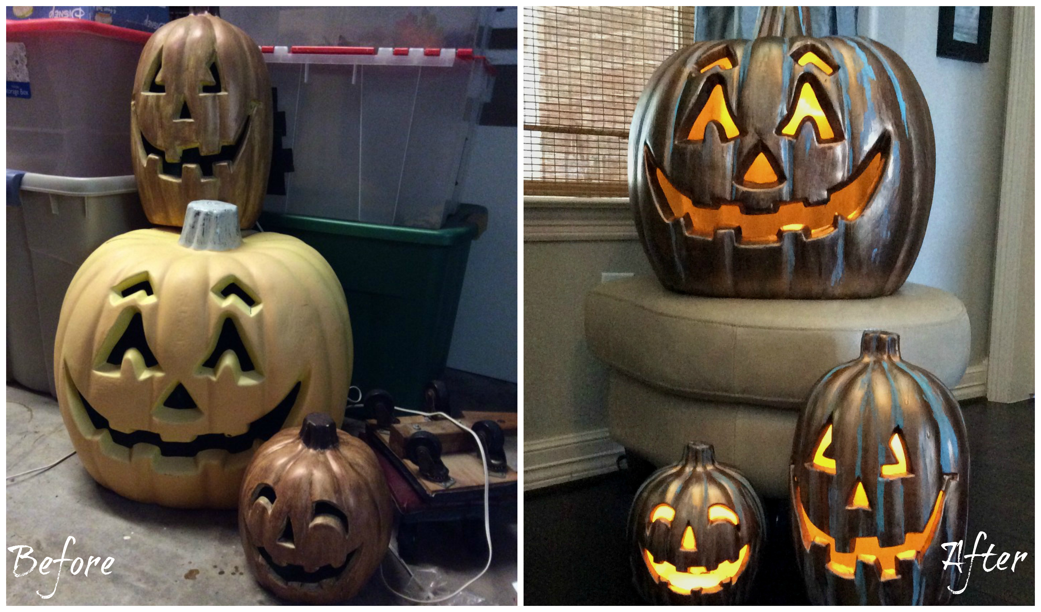 before and after collage of updating outdoor jack o' lanterns
