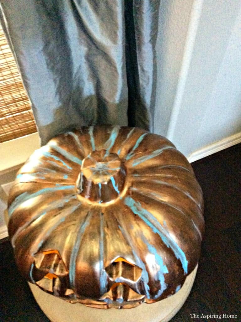 Ariel view of outdoor jack o' lanterns to show the patina finish better