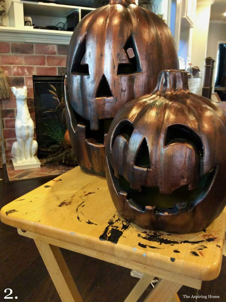 Step 2 apply antique copper paint updating outdoor jack o' lanterns