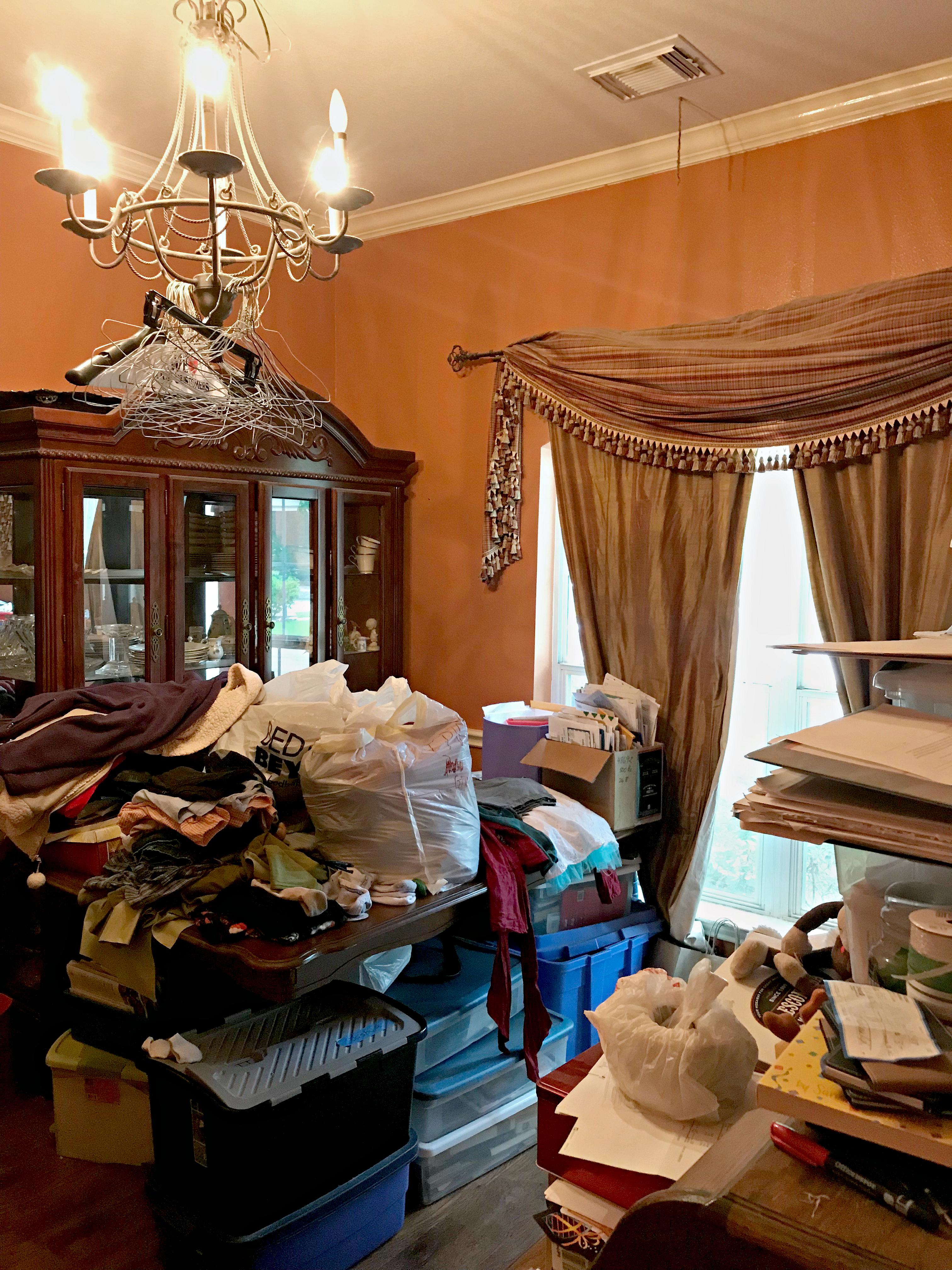 Before decluttering One Room Challenge