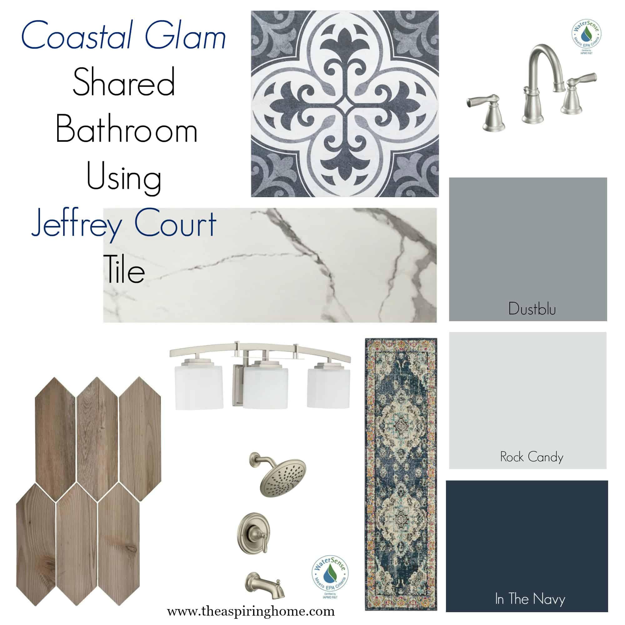 Coastal Glam Shared Bathroom design for ugly duckling bathroom renovation