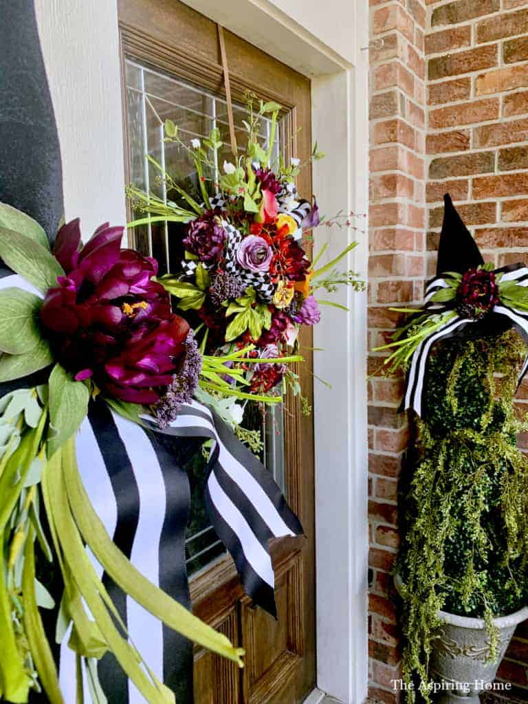 Fall front porch with witch's hat topiary DIY