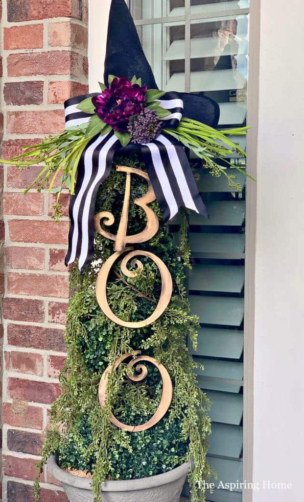 Witch's hat topiary DIY with greenery and BOO letters