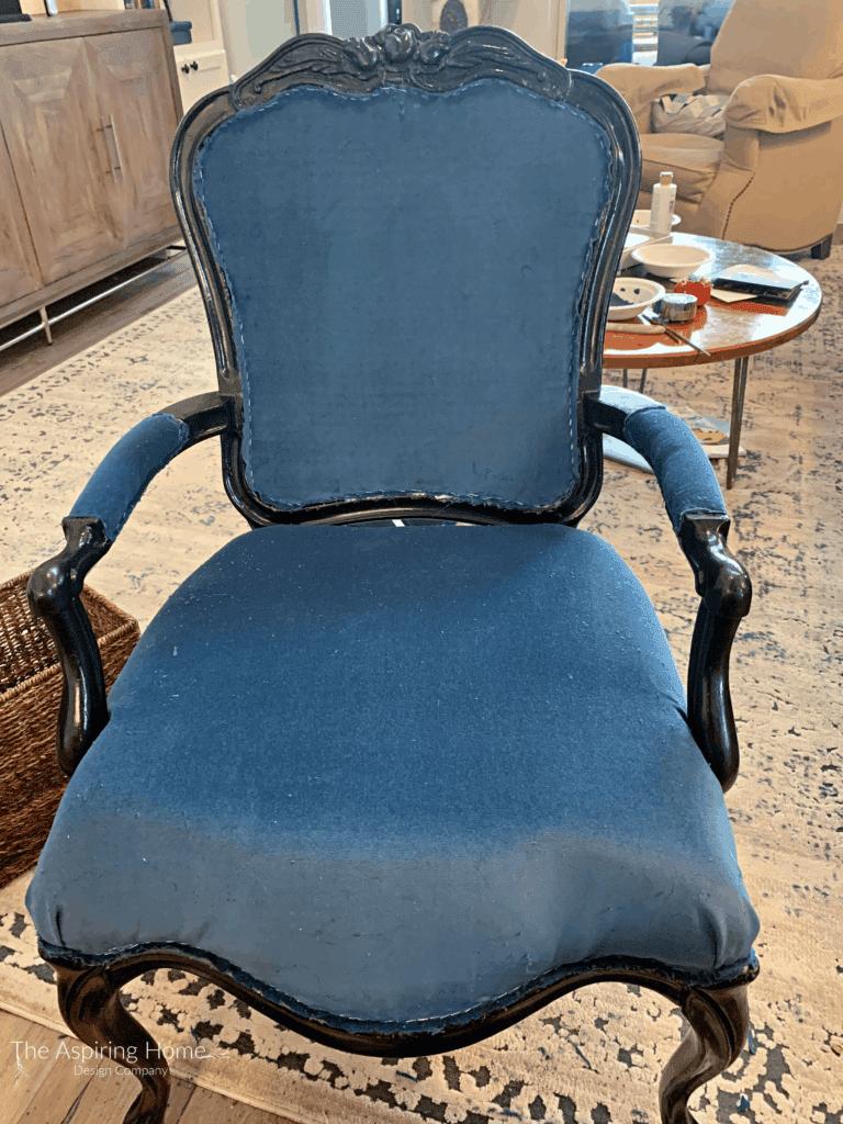 home office makeover details blue velvet chair reupholstered