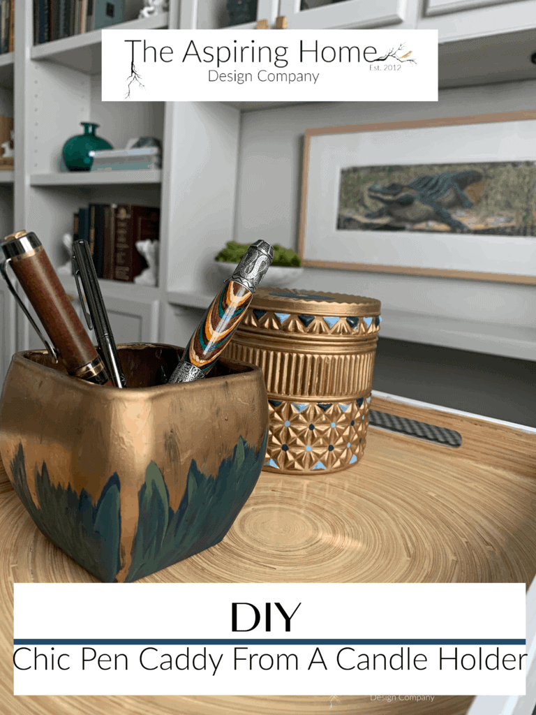 DIY Chic Pen Caddy made from a candleholder
