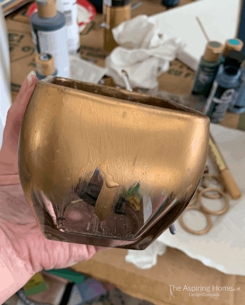 step 2 DIY chic pen caddy paint gold top 1/3