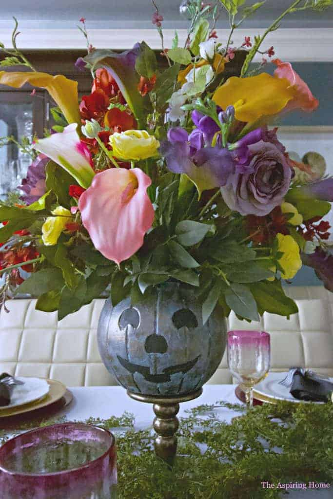 faux metal pumpkin vase closeup