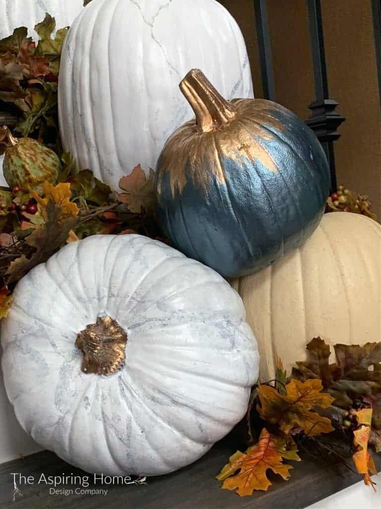 Faux carrera marble pumpkin DIY