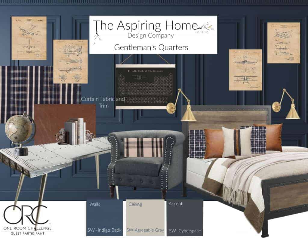 gentleman's quarters bedroom design board
