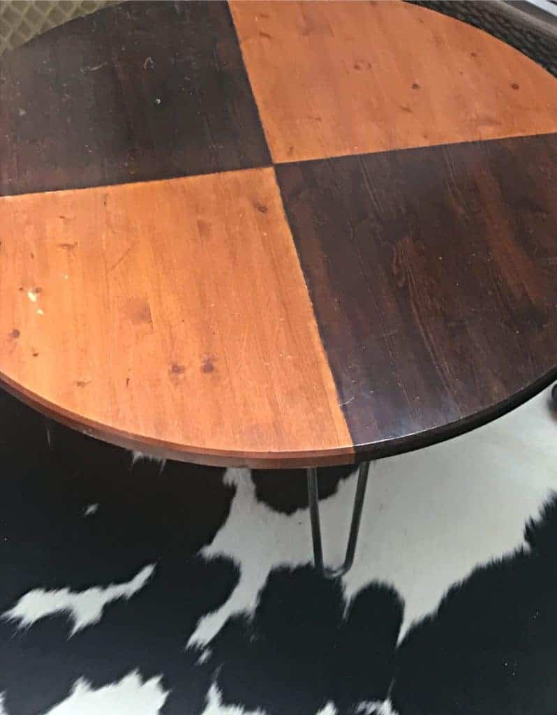 repurposed game table view with hairpin coffee table height legs