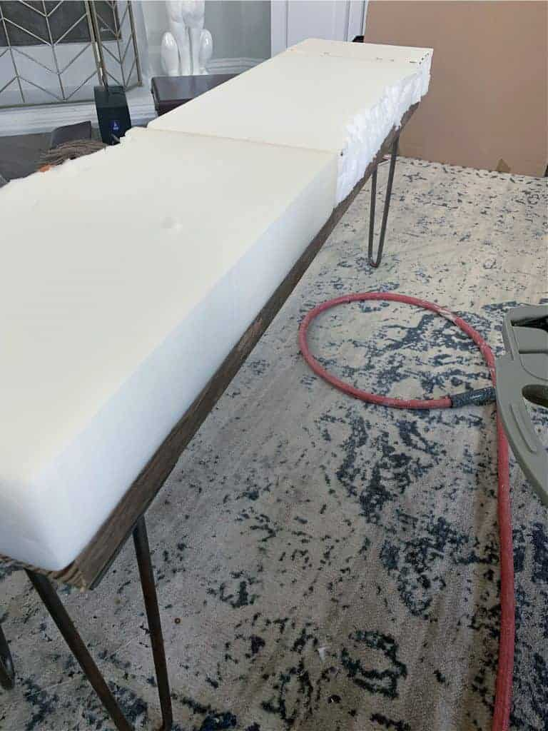 upholstered bench diy apply foam to top of bench