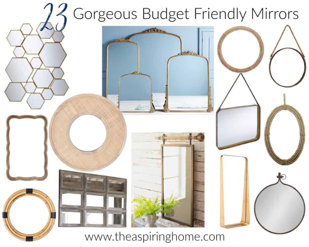 a collection that represents 25 gorgeous budget-friendly mirrors